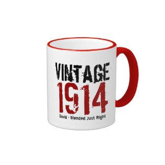 100o Vintage del cumpleaños 1914 o cualesquiera Taza De Dos Colores