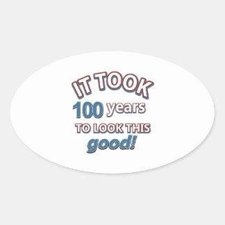 100os diseños del cumpleaños del año calcomanías óvales