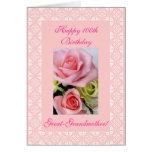 100os (edad) rosas del cumpleaños de la bisabuela felicitaciones