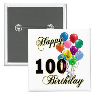 100os regalos de cumpleaños y ropa felices del cum pin cuadrado