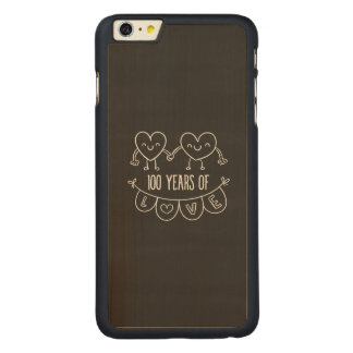 100th Anniversary Gift Chalk Hearts Carved Maple iPhone 6 Plus Case