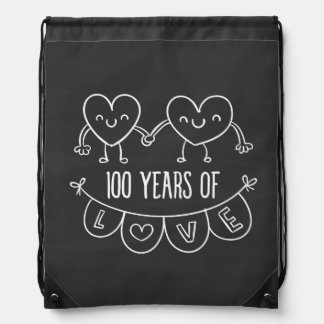 100th Anniversary Gift Chalk Hearts Drawstring Backpack