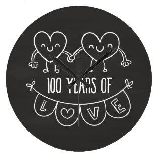 100th Anniversary Gift Chalk Hearts Large Clock