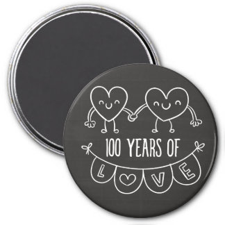 100th Anniversary Gift Chalk Hearts Magnet