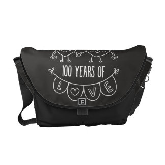 100th Anniversary Gift Chalk Hearts Messenger Bag