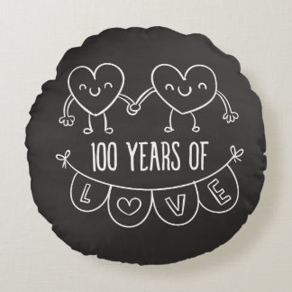100th Anniversary Gift Chalk Hearts Round Pillow