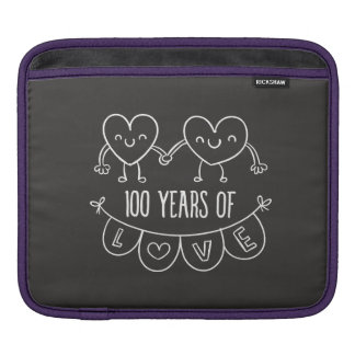 100th Anniversary Gift Chalk Hearts Sleeve For iPads