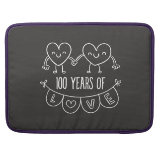 100th Anniversary Gift Chalk Hearts Sleeve For MacBooks
