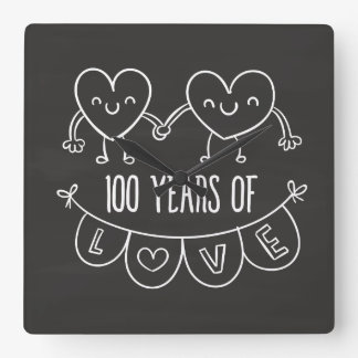 100th Anniversary Gift Chalk Hearts Square Wall Clock