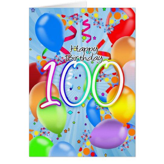100th birthday balloon birthday card happy bir zazzle 100th birthday balloon birthday card happy bir bookmarktalkfo Choice Image