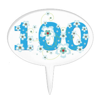 100th birthday beautiful blue hibiscus flowers cake topper