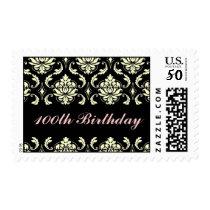 100th Birthday Black Cream Damask Postage