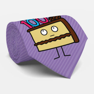 100th Birthday Cake with Candles Neck Tie