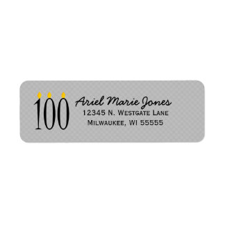 100th Birthday Candles Gray Address Labels