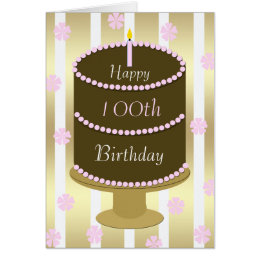 100th Birthday Card Cake in Pink