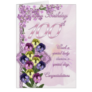 100th Birthday Card For A Special Lady at Zazzle