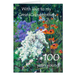 100th Birthday Card for Great-grandmother - Garden