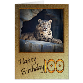 100th Birthday Card with a snow leopard