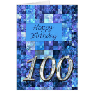 100th Birthday card with abstract squares.