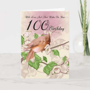 100th birthday cards zazzle 100th birthday card with bird and blossom m4hsunfo