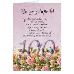 100th birthday card with butterflies and roses - c