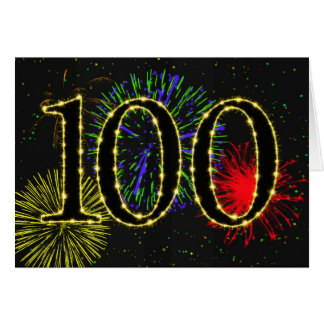 100th Birthday card with fireworks
