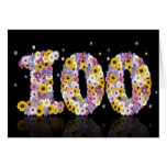 100th birthday card with flowery letters