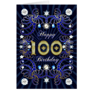 100th birthday card with masses of jewels