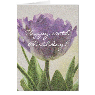 100th Birthday card with purple tulip flowers