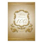 100th Birthday Celebration Custom Vintage Frame 3.5x5 Paper Invitation Card