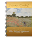 100th Birthday Celebration Customizable Guest Book Spiral Note Books
