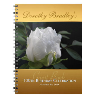 100th Birthday Celebration Peony Custom Guest Book Notebook