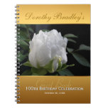 100th Birthday Celebration Peony Custom Guest Book Spiral Notebook