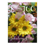 100th Birthday Celebration!-Pink and Yellow Floral 5x7 Paper Invitation Card