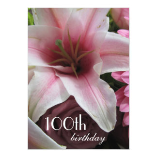 100th Birthday Celebration-Pink Lily Card