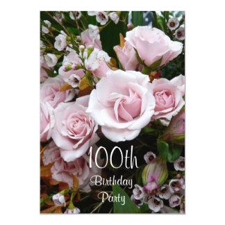 100th Birthday Celebration-Pink Roses 5x7 Paper Invitation Card