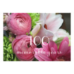 100th Birthday Celebration!-Pretty Pink Flowers Personalized Announcement