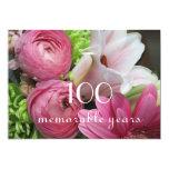 100th Birthday Celebration!-Pretty Pink Flowers 5x7 Paper Invitation Card