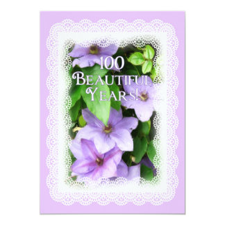 100th Birthday Celebration-Purple Clematis/Lace 5x7 Paper Invitation Card
