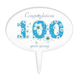 100th birthday congratulations blue flowers custom cake topper