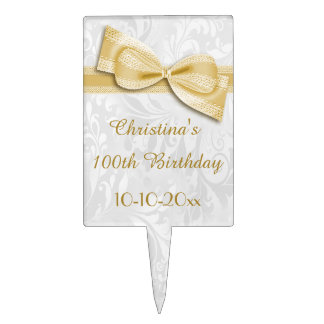 100th Birthday Damask and Faux Bow Cake Toppers