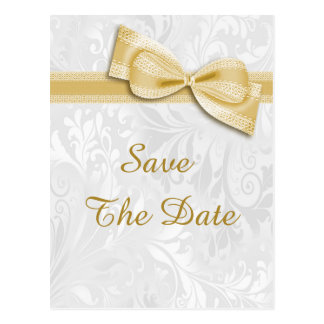 100th Birthday Damask and Faux Bow Save The Date Postcard