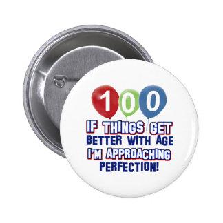 100th birthday designs 2 inch round button