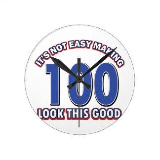 100th birthday designs round clock