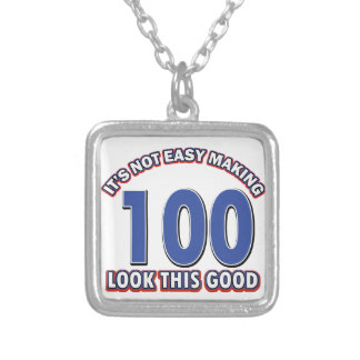 100th birthday designs square pendant necklace
