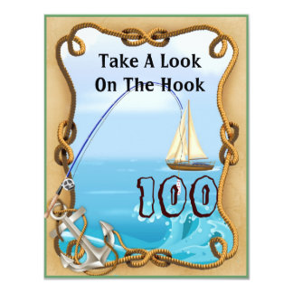 100th Birthday Fishing Invitations for MEN