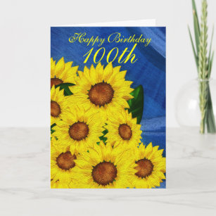 100th birthday cards zazzle 100th birthday floral greeting card sunflowers m4hsunfo