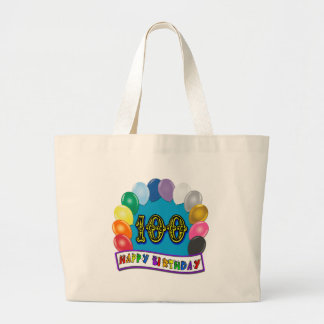 100th Birthday Gifts with Assorted Balloons Design Canvas Bag