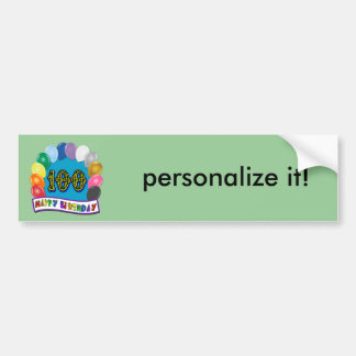 100th Birthday Gifts with Assorted Balloons Design Bumper Sticker