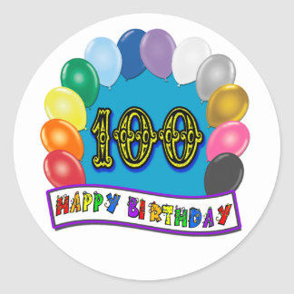 100th Birthday Gifts with Assorted Balloons Design Classic Round Sticker